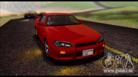 Nissan Skyline R-34 GT-R V-spec 1999 No Dirt pour GTA San Andreas vue de droite