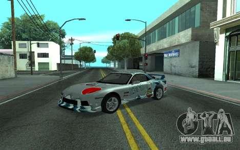 Mazda RX-7 Tunable pour GTA San Andreas sur la vue arrière gauche