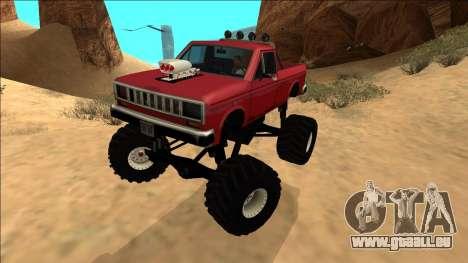 Bobcat Monster Truck pour GTA San Andreas sur la vue arrière gauche