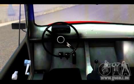 Zastava 750 - The Cars Movie pour GTA San Andreas sur la vue arrière gauche