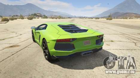 GTA 5 Lamborghini Aventador LP700-4 v.2.2 arrière vue latérale gauche