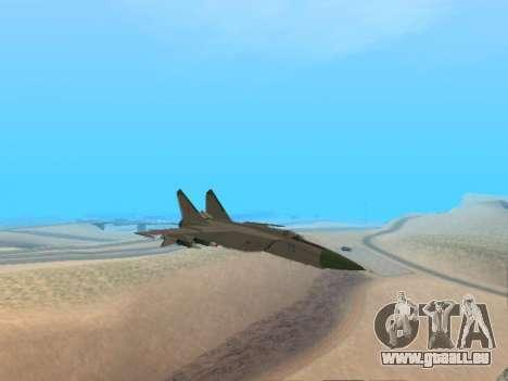 Le MiG 25 pour GTA San Andreas sur la vue arrière gauche