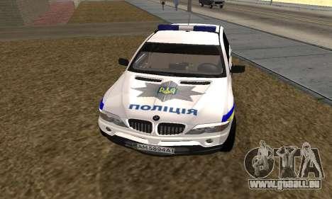 BMW X5 Ukranian Police pour GTA San Andreas sur la vue arrière gauche