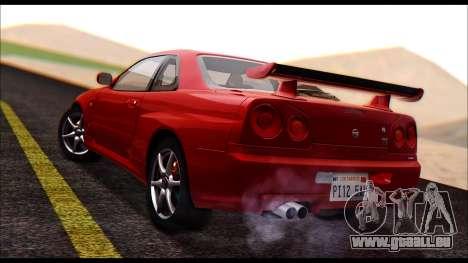 Nissan Skyline R-34 GT-R V-spec 1999 No Dirt pour GTA San Andreas laissé vue