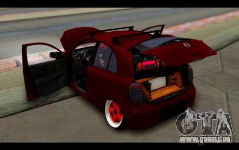 Nissan March 2011 Hellaflush pour GTA San Andreas vue de dessous