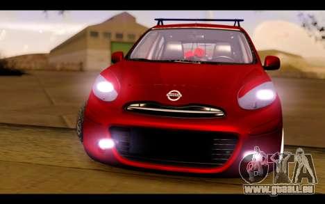 Nissan March 2011 Hellaflush pour GTA San Andreas vue arrière