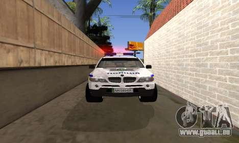 BMW X5 Ukranian Police pour GTA San Andreas vue de côté