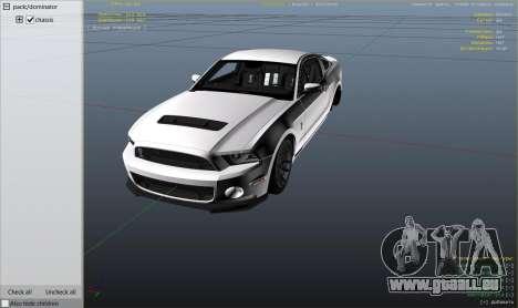 GTA 5 2013 Ford Mustang Shelby GT500 rechte Seitenansicht