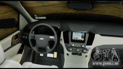Chevrolet Tahoe 2015 für GTA San Andreas Rückansicht