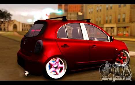 Nissan March 2011 Hellaflush pour GTA San Andreas laissé vue