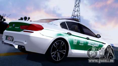BMW M6 F13 Gran Coupe 2014 Dubai Police pour GTA San Andreas laissé vue