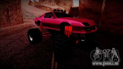1990 Chevrolet Camaro IROC-Z Monster Truck pour GTA San Andreas laissé vue