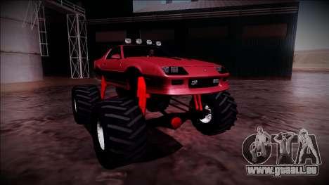 1990 Chevrolet Camaro IROC-Z Monster Truck pour GTA San Andreas vue de droite