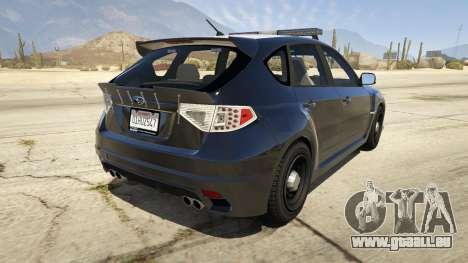 GTA 5 LAPD Subaru Impreza WRX STI hinten links Seitenansicht