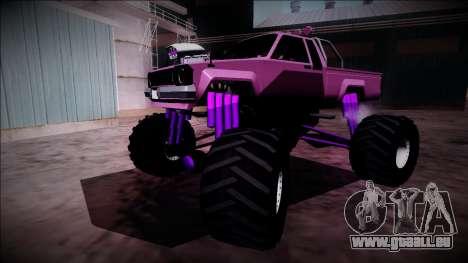 GTA 5 Karin Rebel Monster Truck pour GTA San Andreas vue de dessous