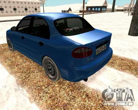 Daewoo Lanos 2001 Winter pour GTA San Andreas sur la vue arrière gauche
