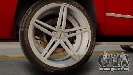 Chevrolet Suburban 2015 LTZ für GTA San Andreas zurück linke Ansicht