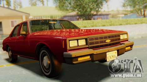 Chevrolet Impala 1984 pour GTA San Andreas vue de droite