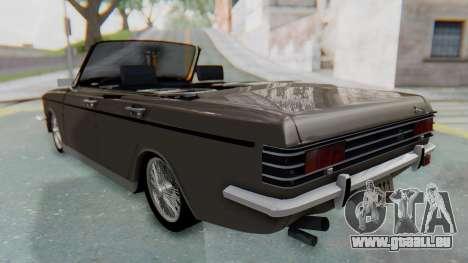 Peykan 80 Spyder pour GTA San Andreas sur la vue arrière gauche