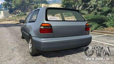GTA 5 Volkswagen Golf Mk3 VR6 1998 Highline DTD v1.0a arrière vue latérale gauche