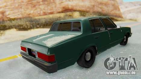 Chevrolet Malibu 1981 Twin Turbo pour GTA San Andreas sur la vue arrière gauche