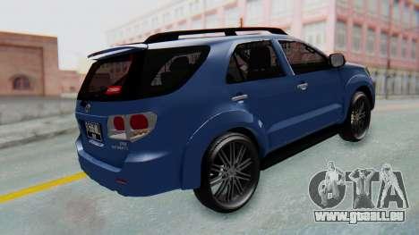 Toyota Fortuner TRD Sportivo Vossen für GTA San Andreas zurück linke Ansicht