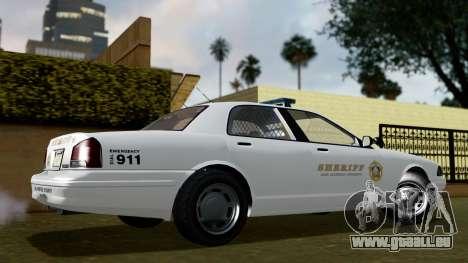 GTA 5 Vapid Stanier II Sheriff Cruiser IVF für GTA San Andreas zurück linke Ansicht