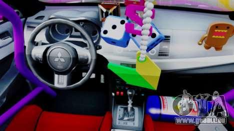Mitsubishi Lancer Evolution X Hellaflush pour GTA San Andreas vue arrière