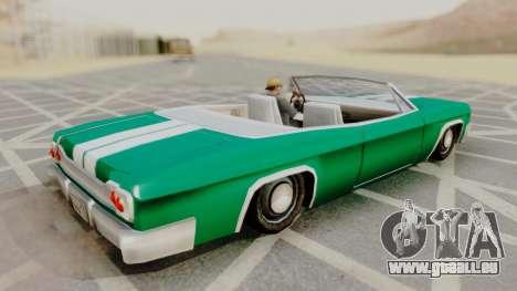 Blade F&F3 Mustang PJ pour GTA San Andreas sur la vue arrière gauche