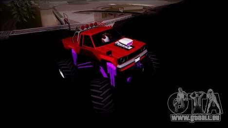 GTA 5 Karin Rebel Monster Truck pour GTA San Andreas vue intérieure