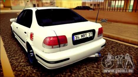 Honda Civic by Snebes pour GTA San Andreas sur la vue arrière gauche