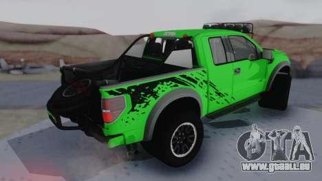 Ford F-150 SVT Raptor 2012 pour GTA San Andreas sur la vue arrière gauche