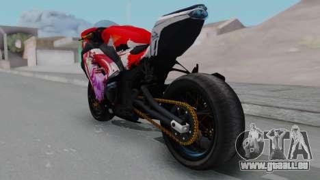 Kawasaki Ninja FI Custom Rias Gremory Itasha pour GTA San Andreas sur la vue arrière gauche