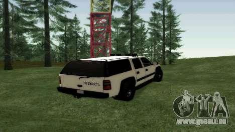 Chevrolet Suburban Offroad Final Version pour GTA San Andreas sur la vue arrière gauche