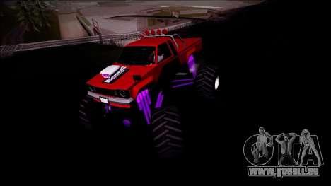 GTA 5 Karin Rebel Monster Truck pour GTA San Andreas vue arrière