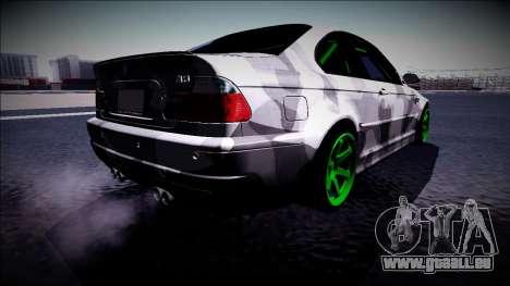 BMW M3 E46 Drift Monster Energy pour GTA San Andreas sur la vue arrière gauche