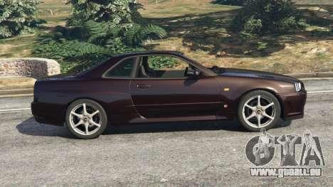 GTA 5 Nissan Skyline GT-R (R34) 1999 vue latérale gauche
