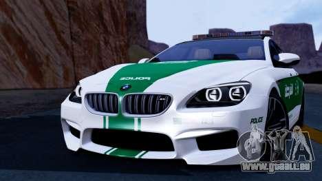 BMW M6 F13 Gran Coupe 2014 Dubai Police pour GTA San Andreas sur la vue arrière gauche