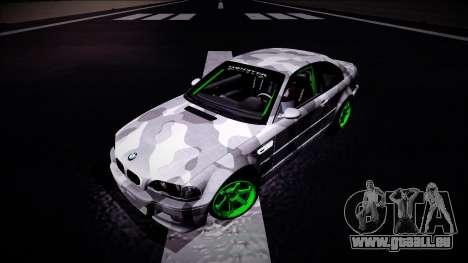 BMW M3 E46 Drift Monster Energy pour GTA San Andreas vue arrière
