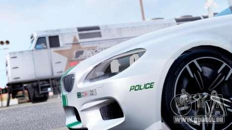 BMW M6 F13 Gran Coupe 2014 Dubai Police pour GTA San Andreas vue arrière