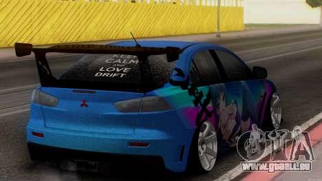 Mitsubishi Lancer X by Venceslav Sexy pour GTA San Andreas sur la vue arrière gauche