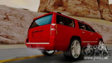 Chevrolet Suburban 2015 LTZ pour GTA San Andreas laissé vue