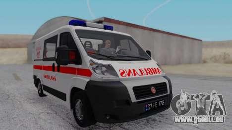 Fiat Ducato Turkish Ambulance für GTA San Andreas zurück linke Ansicht