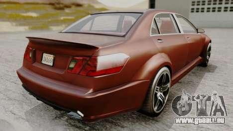 GTA 5 Benefactor Schafter LWB pour GTA San Andreas sur la vue arrière gauche