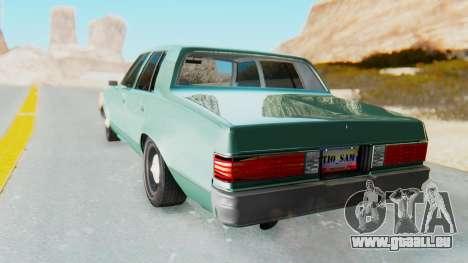 Chevrolet Malibu 1981 Twin Turbo pour GTA San Andreas laissé vue