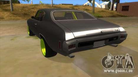 1970 Chevrolet Chevelle SS Drift Monster Energy für GTA San Andreas zurück linke Ansicht