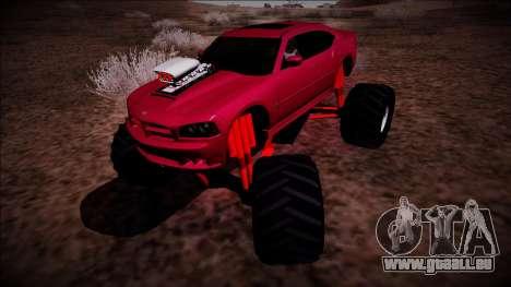 2006 Dodge Charger SRT8 Monster Truck pour GTA San Andreas sur la vue arrière gauche