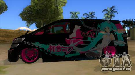 Toyota Vellfire Miku Pocky Exhaust v2 FIX pour GTA San Andreas laissé vue