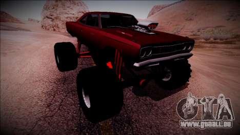 1969 Plymouth Road Runner Monster Truck pour GTA San Andreas vue de dessous