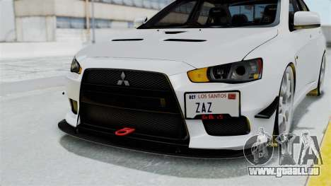 Mitsubishi Lancer Evolution X GSR Full Tunable pour GTA San Andreas vue de dessus